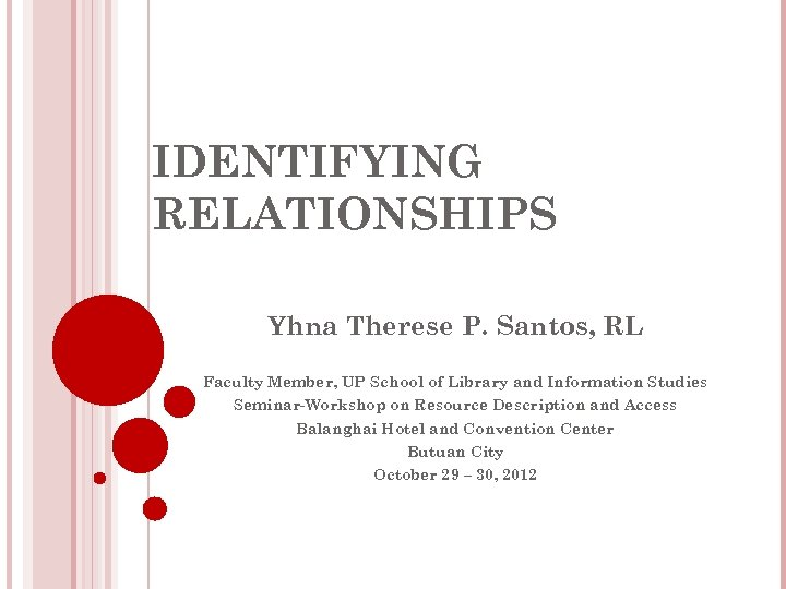 IDENTIFYING RELATIONSHIPS Yhna Therese P. Santos, RL Faculty Member, UP School of Library and