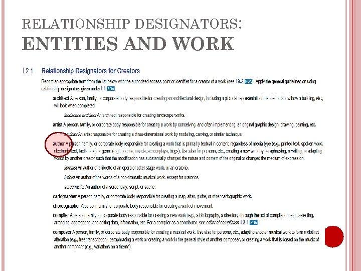 RELATIONSHIP DESIGNATORS: ENTITIES AND WORK