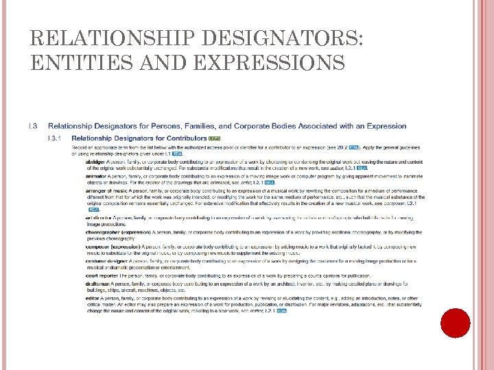 RELATIONSHIP DESIGNATORS: ENTITIES AND EXPRESSIONS