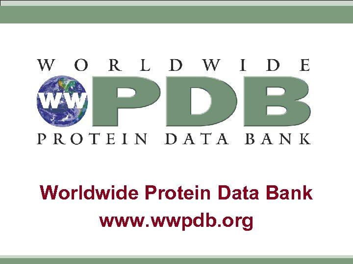 Worldwide Protein Data Bank www. wwpdb. org