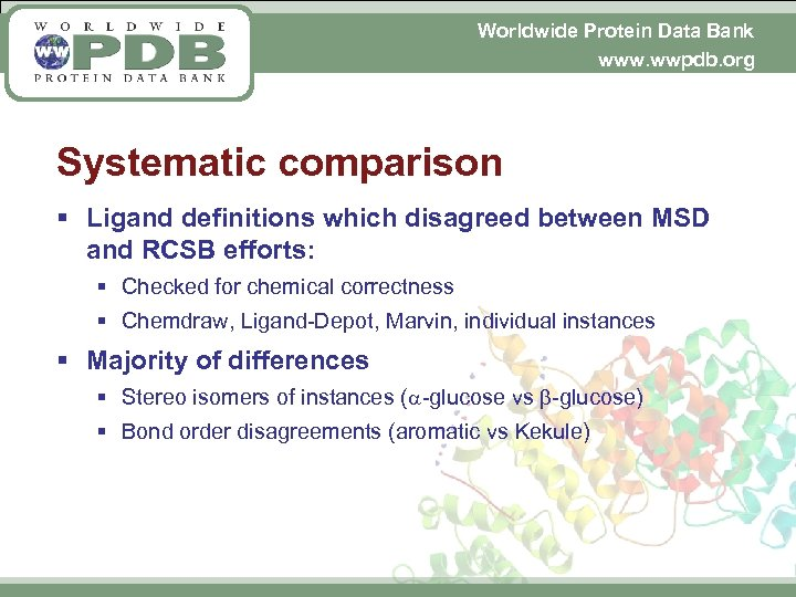 Worldwide Protein Data Bank www. wwpdb. org Systematic comparison § Ligand definitions which disagreed