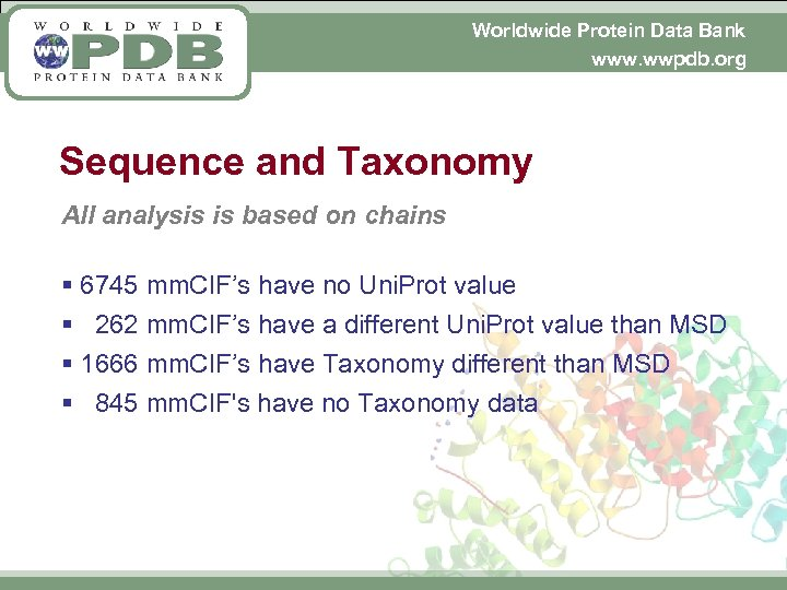 Worldwide Protein Data Bank www. wwpdb. org Sequence and Taxonomy All analysis is based