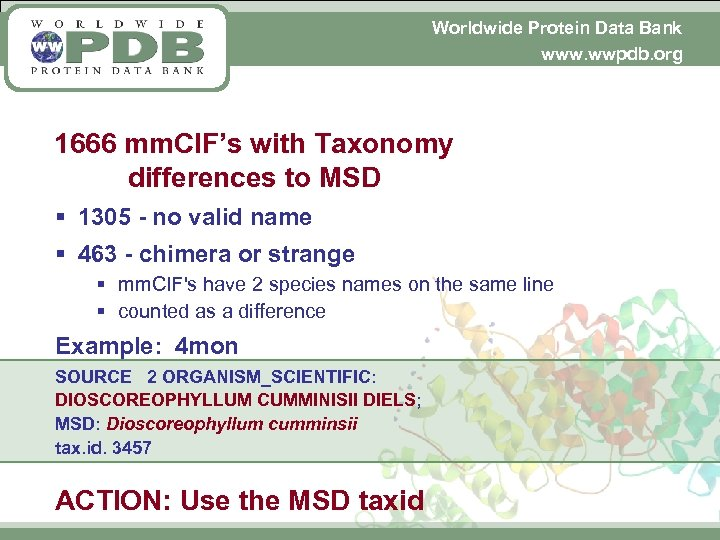 Worldwide Protein Data Bank www. wwpdb. org 1666 mm. CIF's with Taxonomy differences to