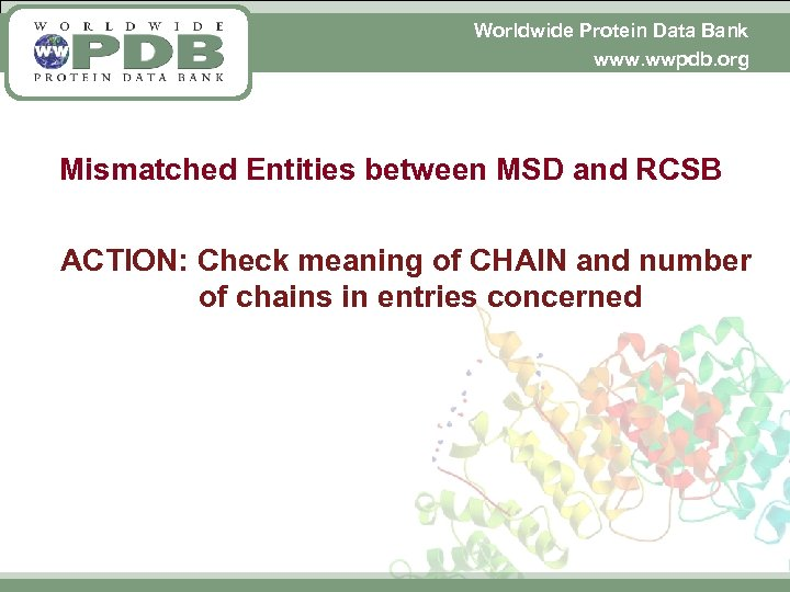 Worldwide Protein Data Bank www. wwpdb. org Mismatched Entities between MSD and RCSB ACTION: