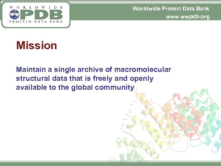 Worldwide Protein Data Bank www. wwpdb. org Mission Maintain a single archive of macromolecular