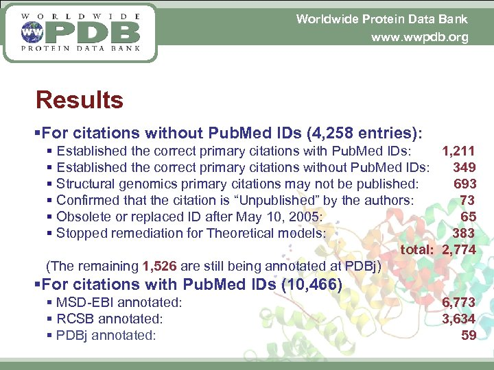 Worldwide Protein Data Bank www. wwpdb. org Results §For citations without Pub. Med IDs