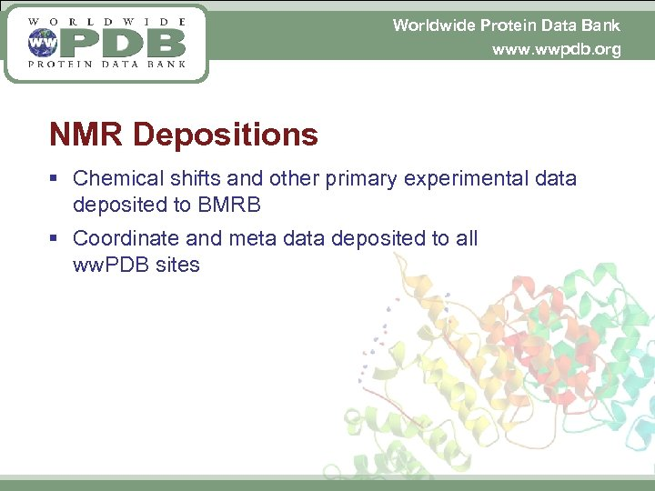Worldwide Protein Data Bank www. wwpdb. org NMR Depositions § Chemical shifts and other