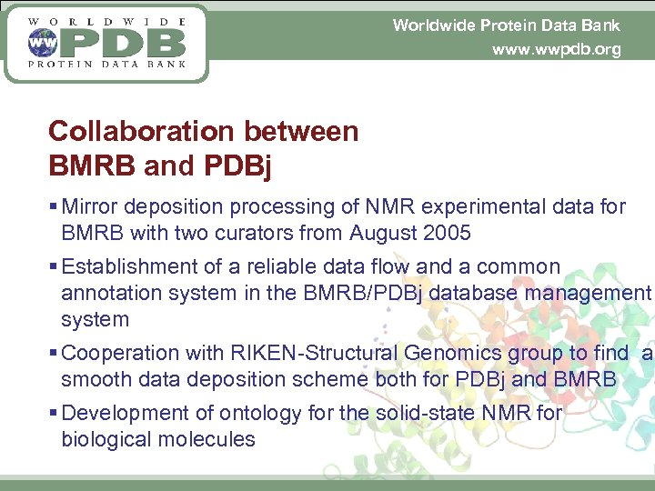 Worldwide Protein Data Bank www. wwpdb. org Collaboration between BMRB and PDBj § Mirror