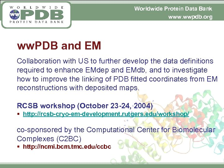 Worldwide Protein Data Bank www. wwpdb. org ww. PDB and EM Collaboration with US