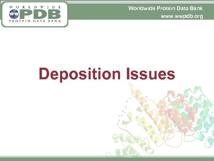 Worldwide Protein Data Bank www. wwpdb. org Deposition Issues