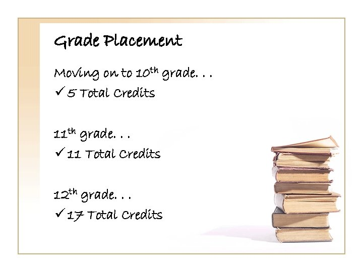 Grade Placement Moving on to 10 th grade. . . ü 5 Total Credits