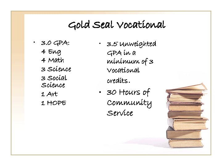 Gold Seal Vocational • 3. 0 GPA: 4 Eng 4 Math 3 Science 3