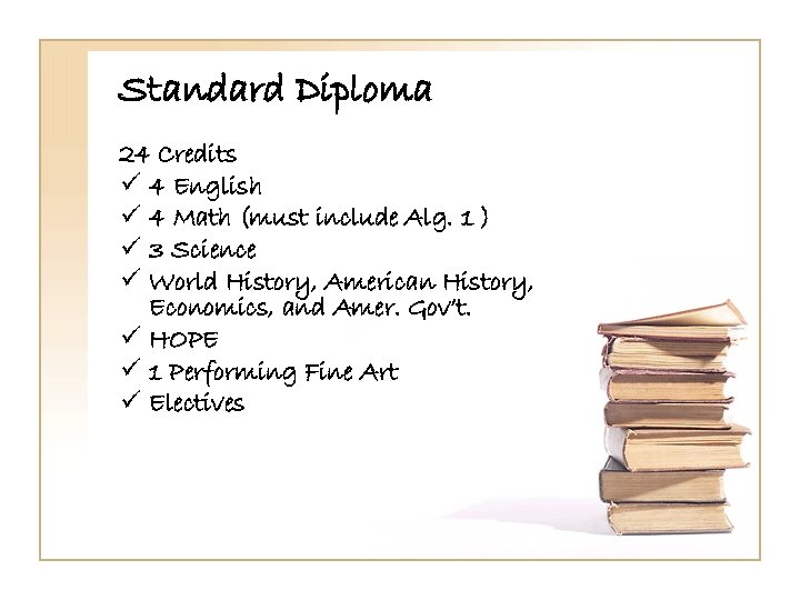Standard Diploma 24 Credits ü 4 English ü 4 Math (must include Alg. 1