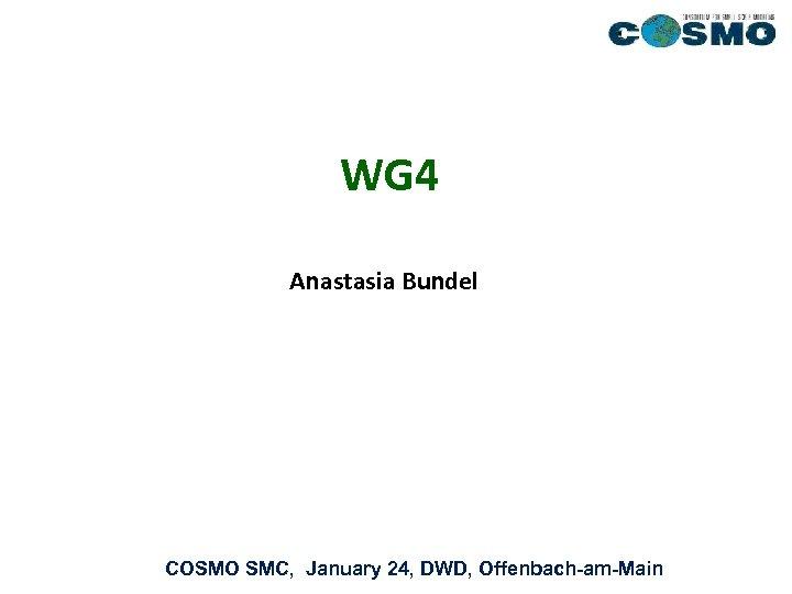 WG 4 Anastasia Bundel COSMO SMC, January 24, DWD, Offenbach-am-Main