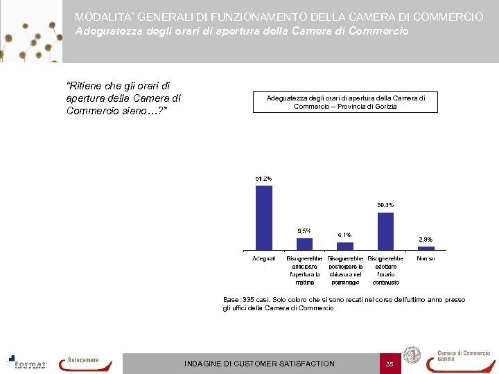 MODALITA' GENERALI DI FUNZIONAMENTO DELLA CAMERA DI COMMERCIO Adeguatezza degli orari di apertura della