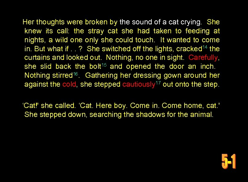 Her thoughts were broken by the sound of a cat crying. She knew its