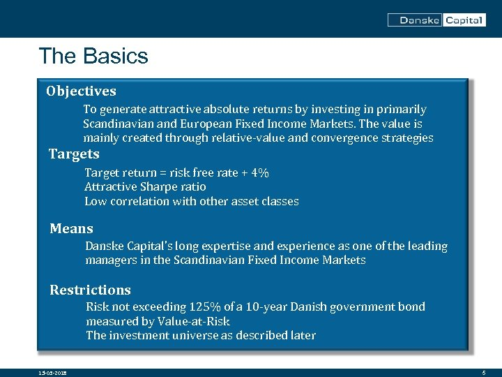 The Basics Objectives Per Søgaard-Andersen is Chief Analyst with the Alternative Solutions and Risk