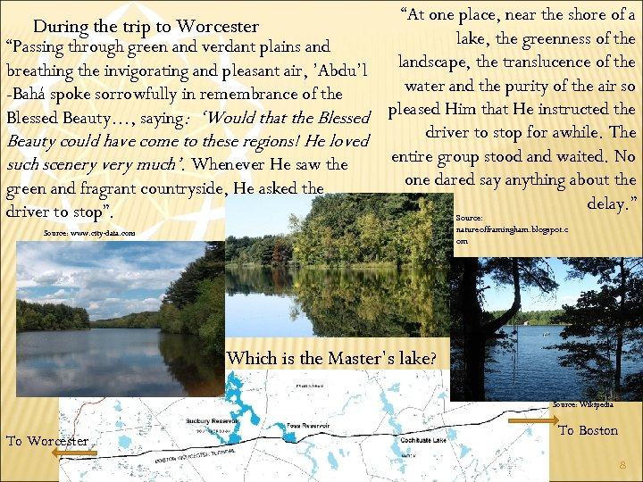"""During the trip to Worcester """"Passing through green and verdant plains and breathing the"""