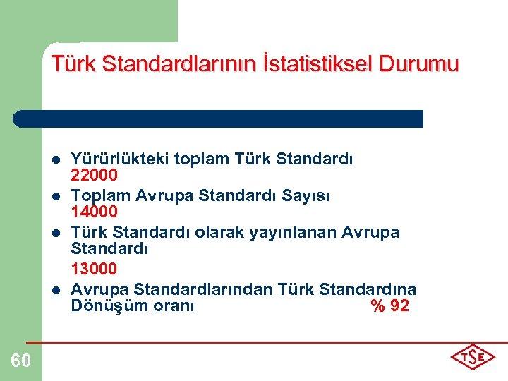 Türk Standardlarının İstatistiksel Durumu l l 60 Yürürlükteki toplam Türk Standardı 22000 Toplam Avrupa