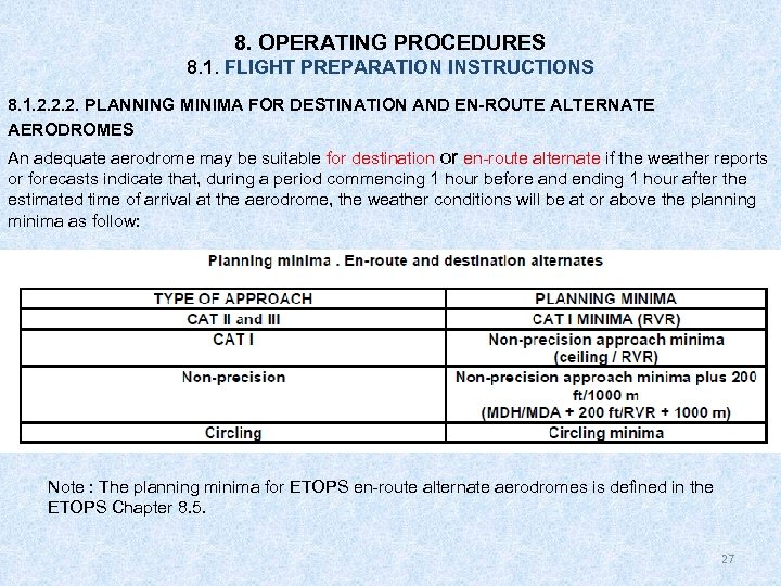 8. OPERATING PROCEDURES 8. 1. FLIGHT PREPARATION INSTRUCTIONS 8. 1. 2. 2. 2. PLANNING