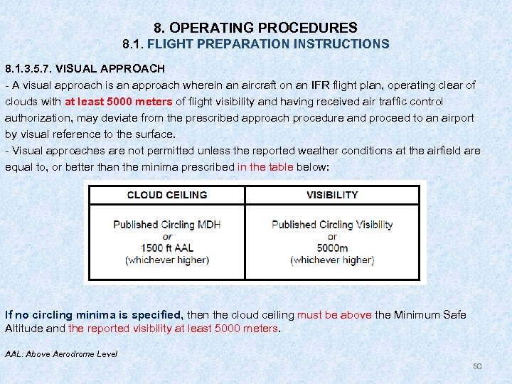 8. OPERATING PROCEDURES 8. 1. FLIGHT PREPARATION INSTRUCTIONS 8. 1. 3. 5. 7. VISUAL