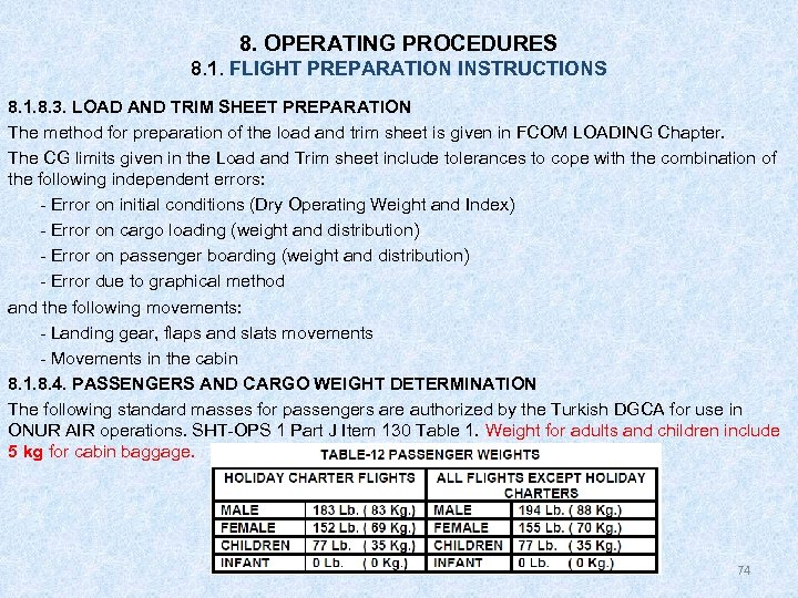 8. OPERATING PROCEDURES 8. 1. FLIGHT PREPARATION INSTRUCTIONS 8. 1. 8. 3. LOAD AND