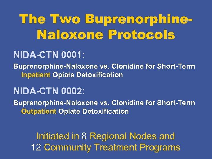 The Two Buprenorphine. Naloxone Protocols NIDA-CTN 0001: Buprenorphine-Naloxone vs. Clonidine for Short-Term Inpatient Opiate