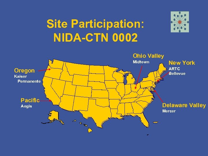 Site Participation: NIDA-CTN 0002 Ohio Valley Midtown Oregon Kaiser Permanente Pacific Aegis New York