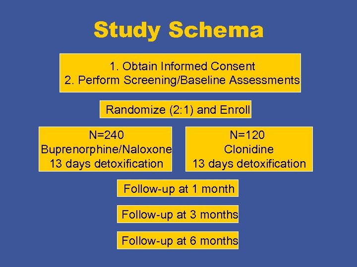 Study Schema 1. Obtain Informed Consent 2. Perform Screening/Baseline Assessments Randomize (2: 1) and