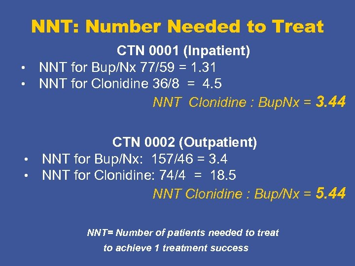 NNT: Number Needed to Treat CTN 0001 (Inpatient) • NNT for Bup/Nx 77/59 =