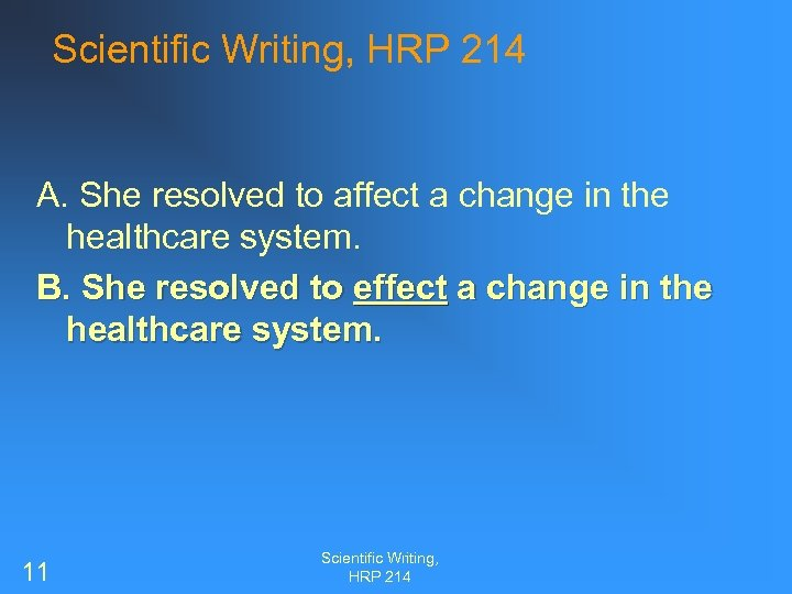 Scientific Writing, HRP 214 A. She resolved to affect a change in the healthcare