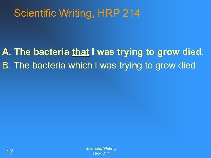 Scientific Writing, HRP 214 A. The bacteria that I was trying to grow died.