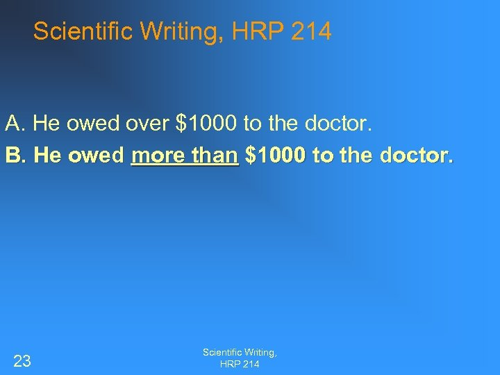 Scientific Writing, HRP 214 A. He owed over $1000 to the doctor. B. He