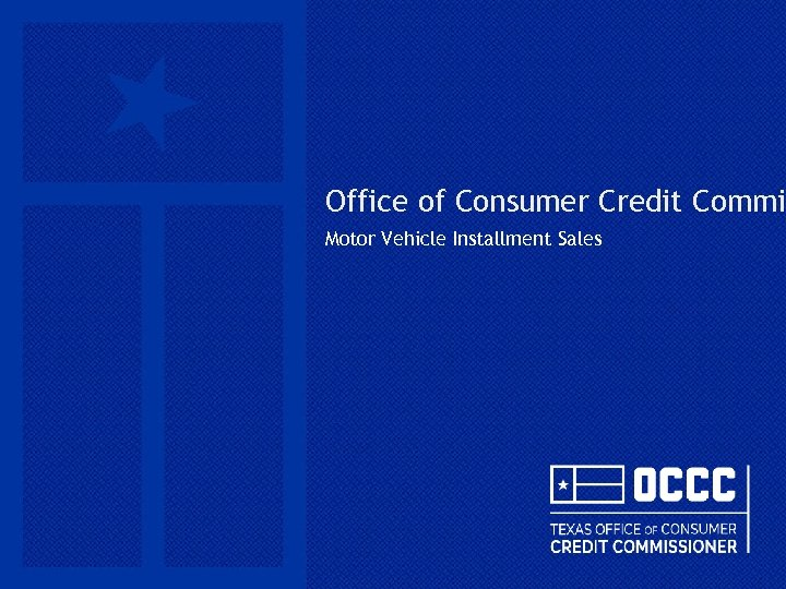 Office of Consumer Credit Commi Motor Vehicle Installment Sales