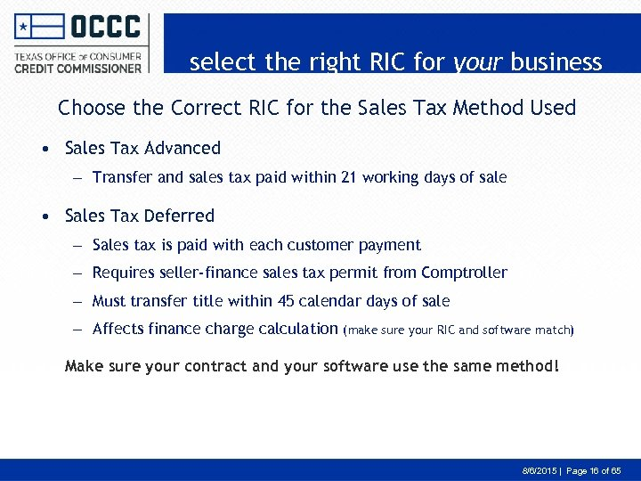 select the right RIC for your business Choose the Correct RIC for the Sales