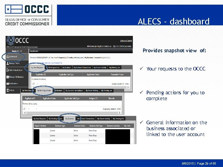 ALECS - dashboard Provides snapshot view of: ü Your requests to the OCCC ü