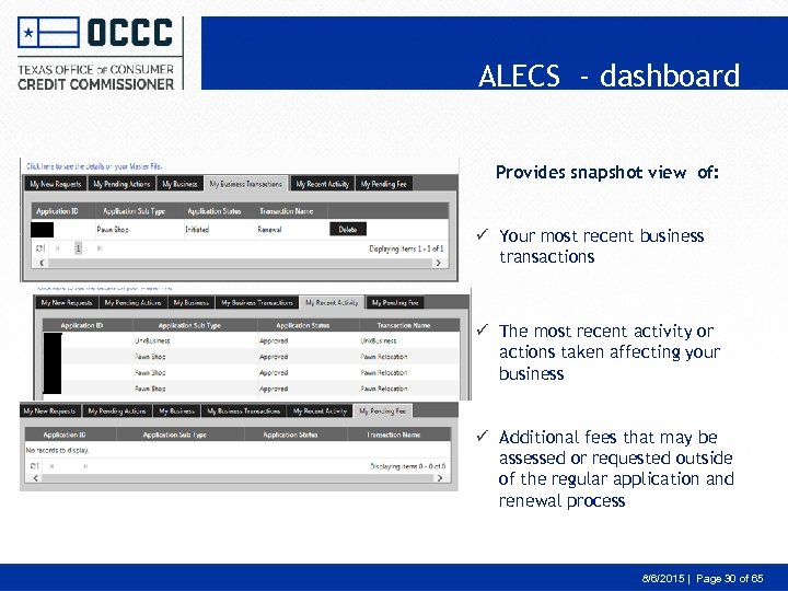 ALECS - dashboard Provides snapshot view of: ü Your most recent business transactions ü