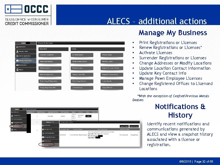 ALECS – additional actions Manage My Business • • • Print Registrations or Licenses