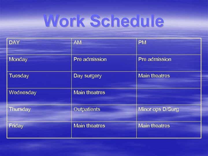Work Schedule DAY AM PM Monday Pre admission Tuesday Day surgery Main theatres Wednesday