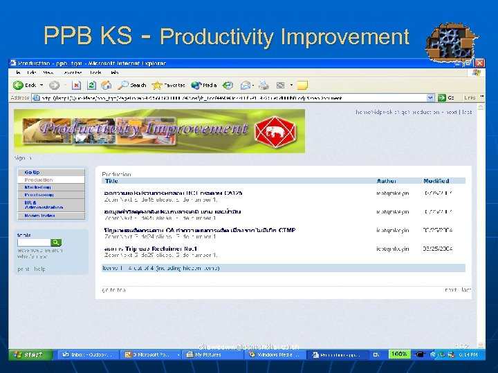 PPB KS - Productivity Improvement chaweeww@cementhai. co. th 102