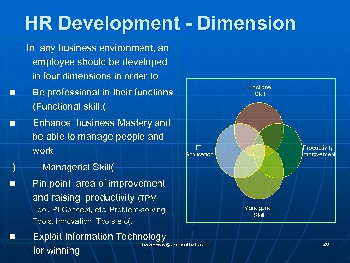 HR Development - Dimension In any business environment, an employee should be developed