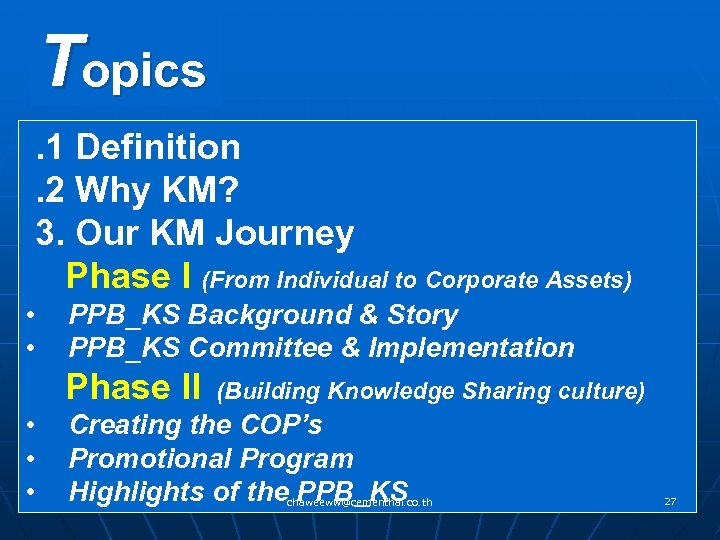 Topics . 1 Definition . 2 Why KM? 3. Our KM Journey Phase I