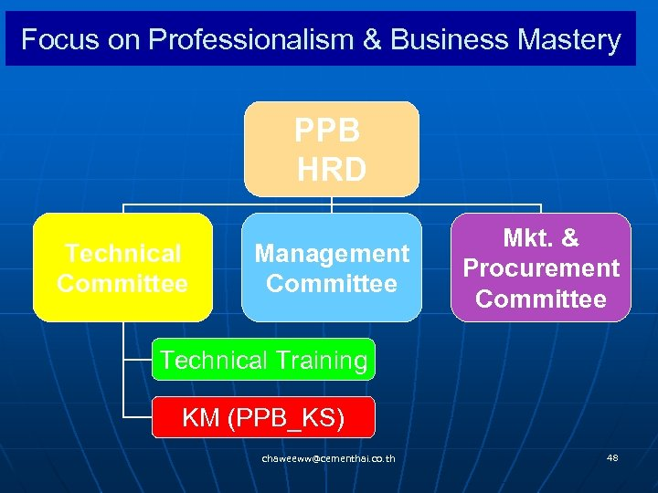Focus on Professionalism & Business Mastery PPB HRD Technical Committee Management Committee Mkt. &