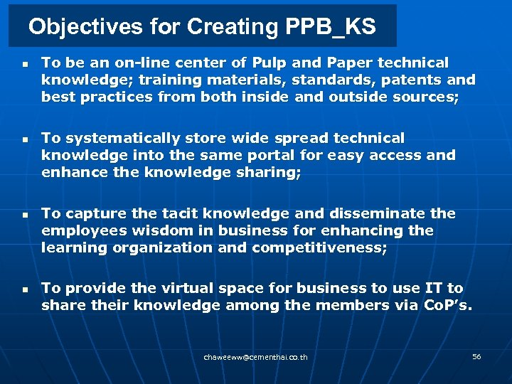 Objectives for Creating PPB_KS n n To be an on-line center of Pulp and