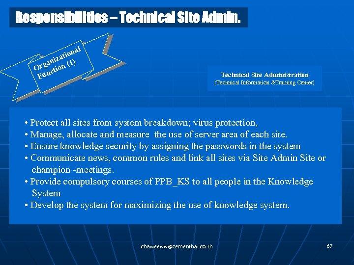 Responsibilities – Technical Site Admin. al tion za ani n (1) Org ctio Fun