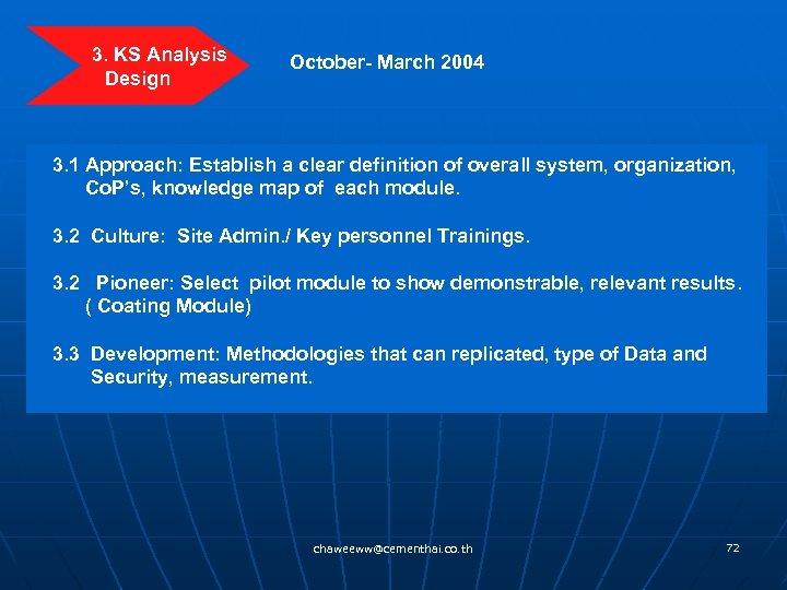 3. KS Analysis Design October- March 2004 3. 1 Approach: Establish a clear