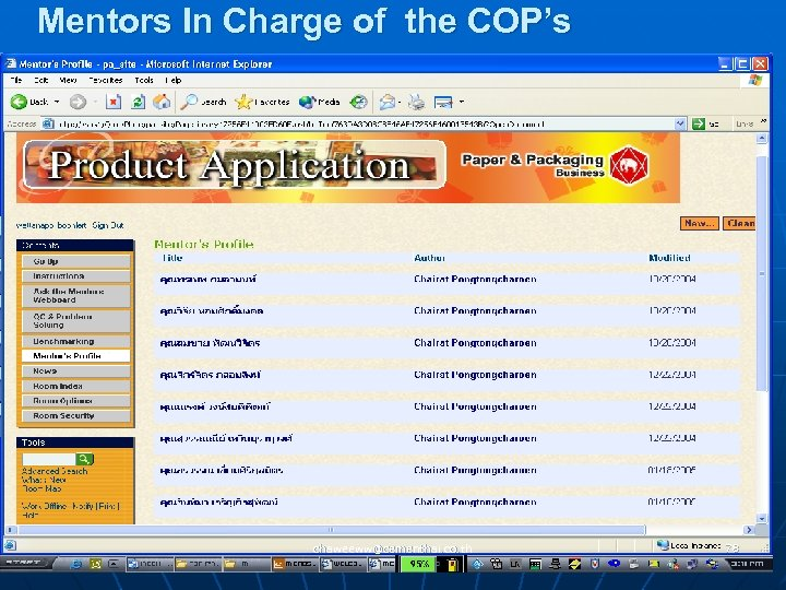 Mentors In Charge of the COP's chaweeww@cementhai. co. th 78