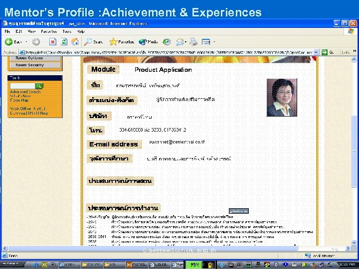 Mentor's Profile : Achievement & Experiences chaweeww@cementhai. co. th 79