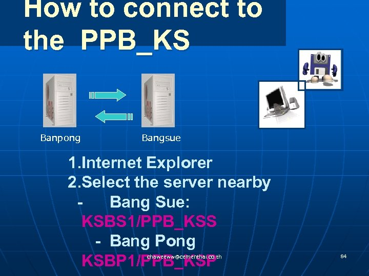 How to connect to the PPB_KS Banpong Bangsue 1. Internet Explorer 2. Select the