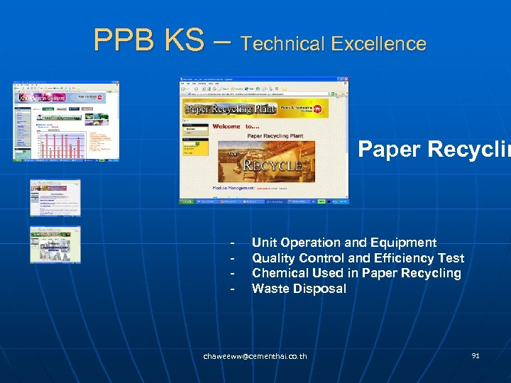 PPB KS – Technical Excellence Paper Recyclin - Unit Operation and Equipment - Quality